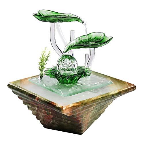 Fuente de relajación Cascada iluminada Fuente de agua minimalista moderna de cerámica Escritorio de escritorio Humidificación Sala de estar Oficina Feng Shui Bola Ritual de regalo Cascada de meditació