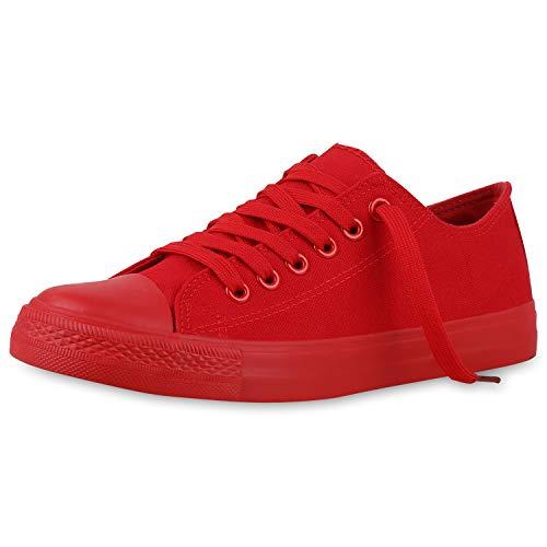 SCARPE VITA Herren Sneakers Sportschuhe Schnürer Stoffschuhe Freizeit Schuhe 134029 Rot Total 36
