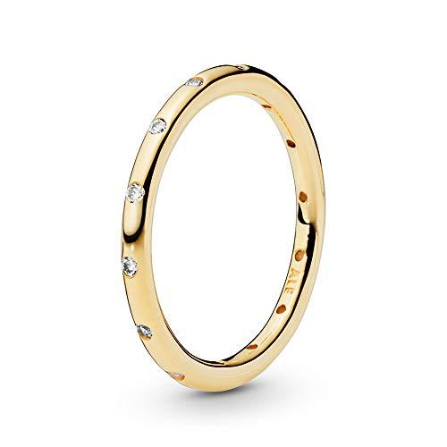 Pandora Damen-Ring Tröpfchen 585 Gelbgold Zirkonia weiß Gr. 58 (18.5) - 150178CZ-58