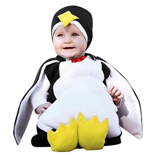 VICGREY Costume per Travestimento da Pinguino, Bambini Pagliaccetto,Ragazze Ragazzi Pagliaccetto Felpa con Cappuccio Addensare Snowsuit Inverno Infantile Romper+Manicotto del Piede (B, 6-12 Mesi)
