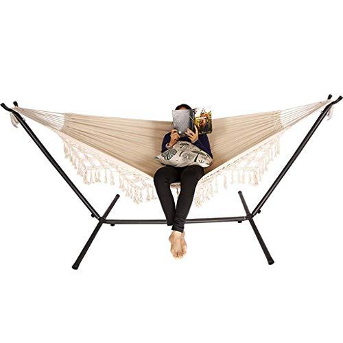 JXS-outdoor Hamac de Pompon, hamac Double d'hamac de Toile de Coton approprié au Camping d'intérieur de Jardin 200 × 150Cm,withbracket