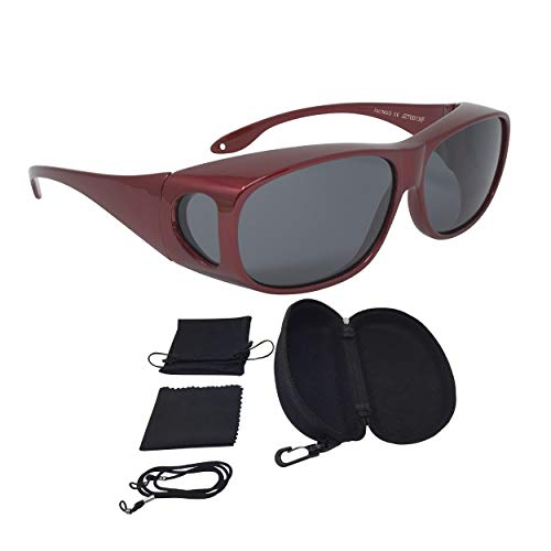 FALINGO Sonnenüberbrille Überzieh Sonnenbrille CLASSIC EDITION polarisiert UV 400 (Rot, Grau)