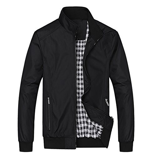 Nantersan Mens Casual Jacket Outdoor Sportswear Windbreaker Lightweight Bomber Jackets and Coats, Medium, #Jk025 Black