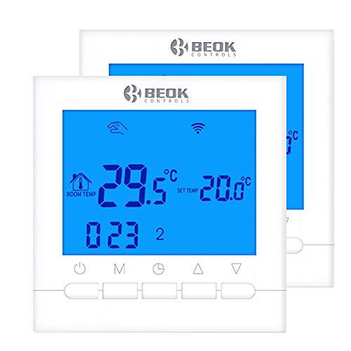 Beok BOT-313 Wifi Per Programmabile Caldaia A Gas Cablata Termostato,Con Schermo LCD, Controllo Remoto Online Tramite Smartphone, AC220V 3A, Blu, 220.00 voltV,Necessità Di Alimentazione Elettrica