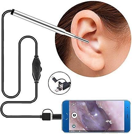 3 En 1 Oreja Endoscope, Endoscopio Limpieza con 6 Luces LED Ajustables, 1MP HD Cámara De Inspección De Otoscopio Impermeable Fauay