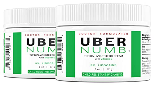 Uber Numb 5% Lidocaine Topical Numbing Cream, (2 Pack), 2 Ounce, Advanced Formula Rapid Absorption Non-Oily
