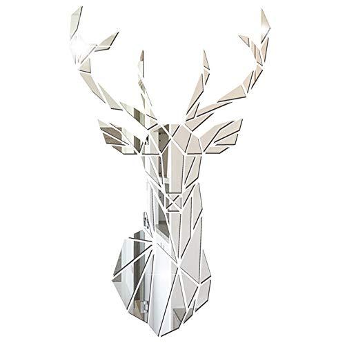 Gurxi Acrílico Ciervo Forma Pegatinas de Pared Decoración Adhesivo de Pared de Espejo de Ciervo Moderno DIY 3D Etiqueta de la Pared del Espejo de la Decoración de los Ciervos para Fondo Arte de Pared