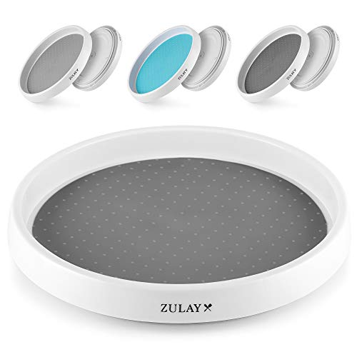 Zulay (10 inch) Rotating Lazy Susan - Lazy Susan Cabinet Organizer With Silicone Padded Grip - Kitchen Turntable Organizer With Non-Skid Base & Rimmed Edge for Cabinet, Pantry & Bathroom (Gray)
