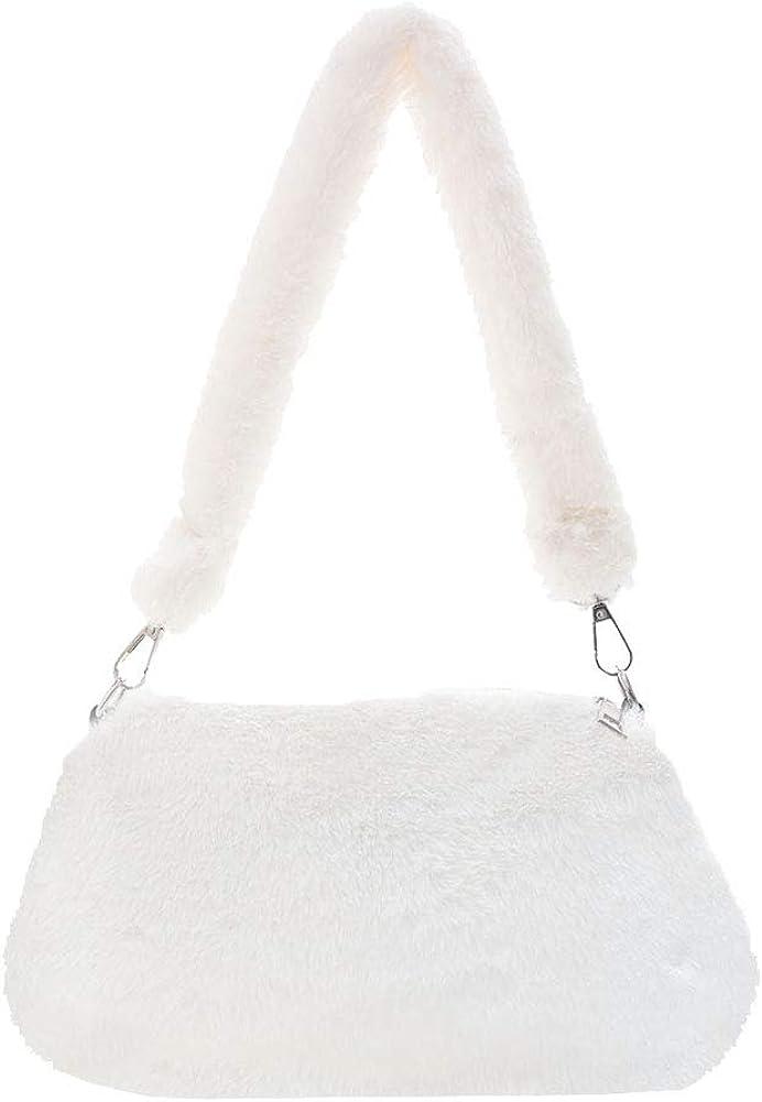 TOYERA Shoulder Bags for Women Girls Fluffy Portable Plush Shoulder Handbag Retro Women Animal Print Underarm Bag Purse