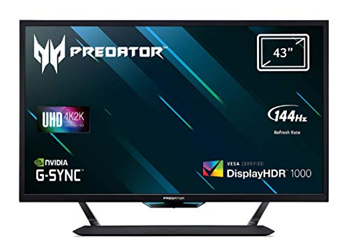 Predator CG437KP Gaming Monitor 42,5 Zoll (108 cm Bildschirm) 4K (UHD),144Hz/136Hz OC DP, 120Hz DP, 60Hz HDMI/TypeC, 1ms (VRB), 3xHDMI 2.0, 2xDP 1.4, GSync Compatible, HDMI VRR