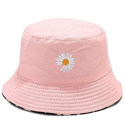 CXD Daisy Doppia Faccia Cappellino di Uomini Donne, di Alta qualità Pesca Black Hat Tempo Libero Capanno da Pesca Cappelli Ricamati Pieghevoli Camping Pesca,Rosa