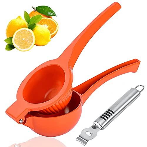 Exprimidor Limón Manual, exprimidor grande de exprimidor de limón con rallador de limón Aleación de aluminio Exprimidor de naranja cítrica Prensa manual Manual Exprimidor de fruta rojo (diámetro 9 cm)