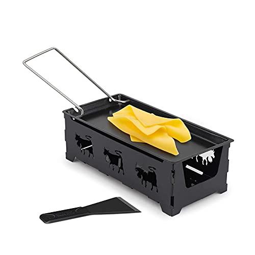 Mini Raclette Queso Raclette Raclette Queso Antiadherente PortáTil Herramienta Parrilla Cocina Casera,Horno Raclette Queso Antiadherente Con EspáTula Silicona Para Derretir Queso,Chocolate(Negro)