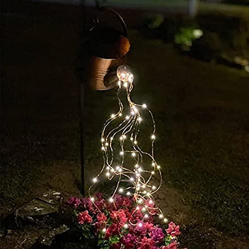 Star Shower Garden Lights Art Light, Impermeable Navidad LED Cuento de hadas Vines Lámpara de cuerda para pasarela Jardín Patio Césped, Regadera solar al aire libre Decoración de luz con soporte