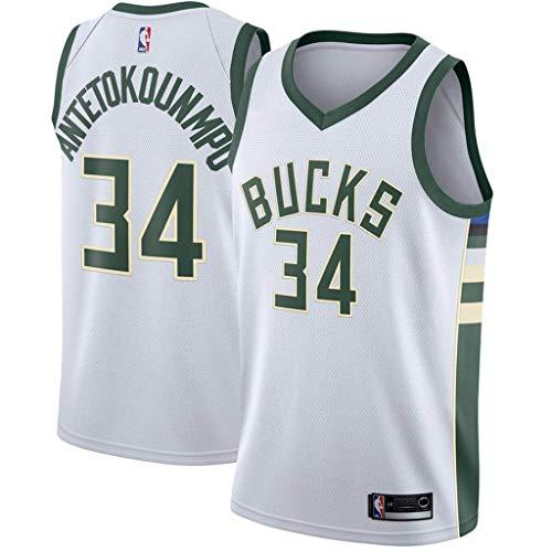 RAAVIN Milwaukee Bucks, La Maglia da Basket,# 34 Giannis Antetokounmpo, Nuovo Tessuto Ricamato, Stile Sportivo,Bianco(S)