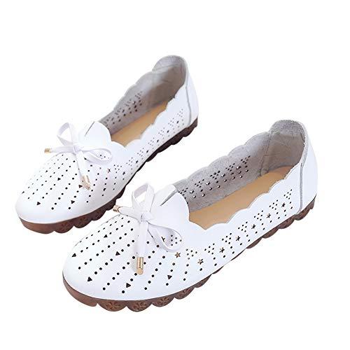 Momokoi Damen Flache Loafer Leder Slip On Gummisohle Schuhe mit Schleife, weiß, 50