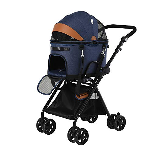 Pawhut Folding Pet Stroller Removable Carrier Adjustable...