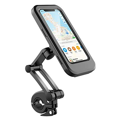 B-Land Waterproof Bike Phone Mount Cell Phone Holder for Motorcycle - Bike Handlebars, 360° Adjustable Universal Motorcycle Phone Mount Bike Phone Holder with TPU Touch-Screen