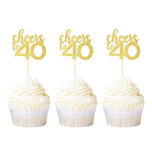Ercadio 24 Pack Cheers to 40 Cupcake Toppers Gold Glitter Forty 40th Birthday Cupcake Picks Decoration for Anniversary Party Supplies