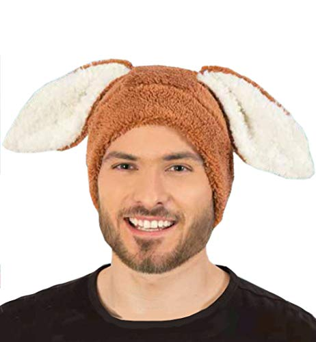KarnevalsTeufel Plüsch-Mütze Hase für Erwachsene mit Hasenohren Häschen Osterhase (Braun)