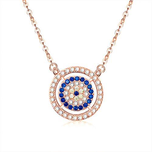 TIGOSM Sterling Silber Statement Anhänger Halskette Truthahn Blau Kristall Lucky Evil Eyes Halskette Frauen Schmuckherstellung