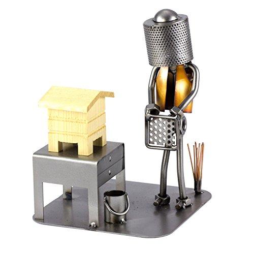 Steelman24 I Schraubenmännchen Imker Mit Holzhaus I Made in Germany I Handarbeit I Geschenkidee I Stahlfigur I Metallfigur I Metallmännchen