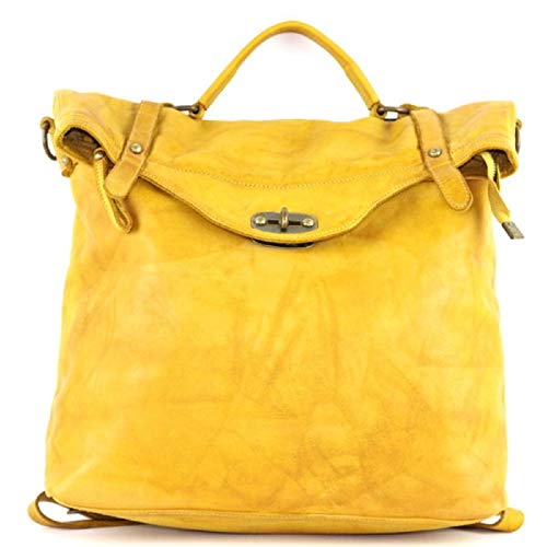 BZNA Bag Gabi gelb Backpacker Designer Rucksack Damenhandtasche Schultertasche Leder Nappa ItalyNeu