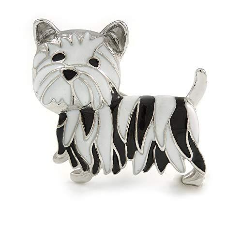 Avalaya Black/White Enamel Yorkie Dog Brooch in Sivler Tone Metal - 35mm Across