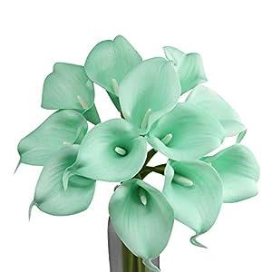 Angel Isabella, LLC Lifelike Artificial Flowers Real Touch Calla Lily Bouquet Bundle 10 Stems (Seafoam Aqua)