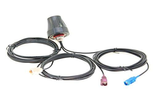 Alda PQ antenne voor dakmontage voor 2G (GSM), 3G (UMTS), GPS, Wifi/Bluetooth FAKRA/F Blue Code C FAKRA/F Bordeaux Code D FAKRA/F beige Code I stekker en 3 m kabel 3 dBi winst.