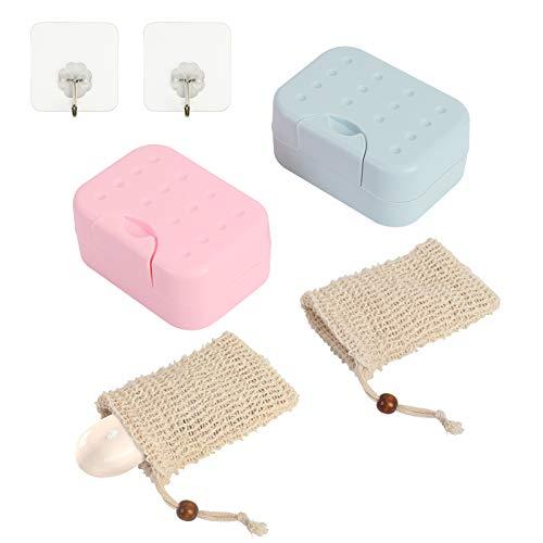 LANMOK Seifenschale zum Duschseifendose, 2Stk Seifendose Kunststoff mit 2Stk Peeling Seifensäckchen Sisal Reise Seifenschale Seifen Halter Box für Badezimmer Dusche Küche
