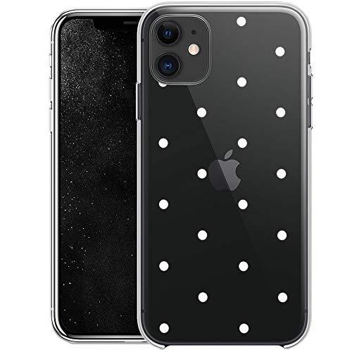 QULT Handyhülle kompatibel mit iPhone 11 Hülle transparent ultradünn Slim Bumper Silikon Schutzhülle durchsichtig Hülle mit Motiv weiße Punkte