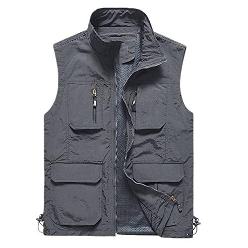 Chaleco fino para hombre de secado rápido con múltiples bolsillos para pesca de senderismo