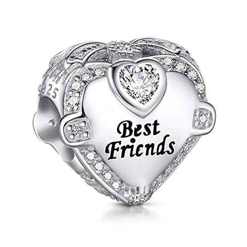 NINGAN I Love Best Friends Charm para pulsera Pandora - Día de la madre y regalos de cumpleaños para mujer 925 Plata de ley Corazón de circonita cúbica para collar
