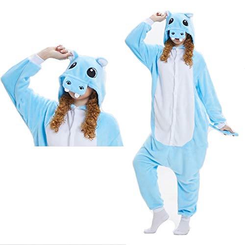 SLDAGe Adultos Animal Pijamas,Hipopótamo Azul Animal De Dibujos Animados Supersoft Flannel Pijamas...