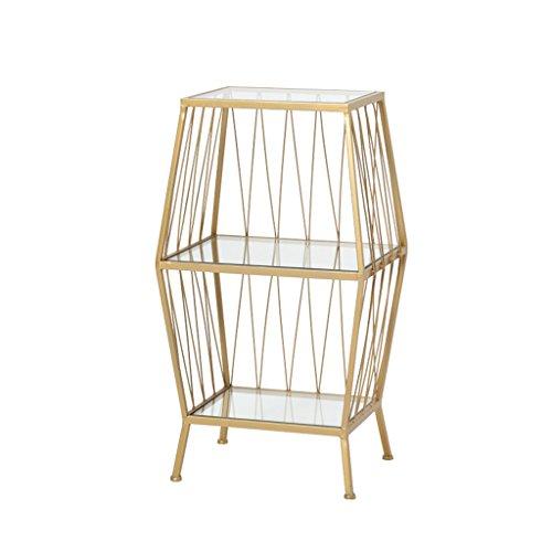 CHGDFQ Estantería de almacenamiento de cabecera nórdica en el piso de la sala de estar, estante de almacenamiento de hierro forjado de 3 capas, mesita de noche, repisa de cristal templado del dormitor