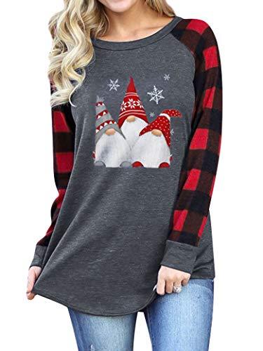 Hubery Women Christmas Graphic Raglan Sleeve Blouse Plaid Splicing Comfy T Shirt