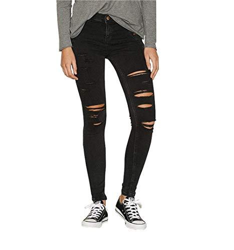 Adelina Damen High Waist Skinny Jeans Hose Stretch Slim Fit Zerrissen Jeanshose Einfarbig Button Mit Taschen Denim Bleistifthose (Color : Schwarz, Size : L)