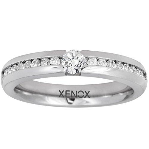 XENOX X5010-48 Damen Ring XENOX & friends Edelstahl Silber Weiß Zirkonia 15,3 mm Größe 48