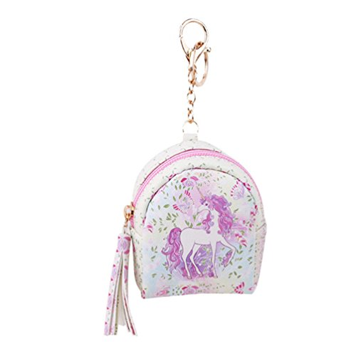 VWH Women PU Unicorn Mini Wallet Card Key Holder Zip Coin Purse Clutch Bags (pink flower)