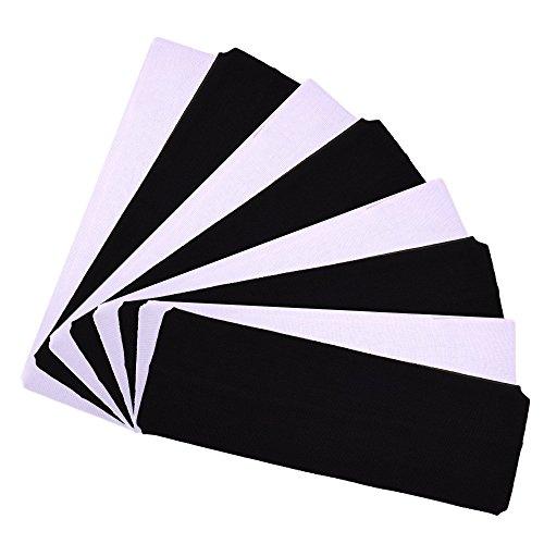 Cosmos 2.5 Wide Stretchy Cotton Yoga Headband (4 Pcs Black & 4 Pcs White)