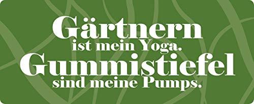 Blechschild 27x10cm gewölbt Gärtnern ist Mein Yoga Garten Deko Geschenk Schild