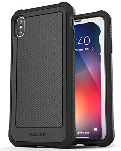 Encased Heavy Duty Case for iPhone Xs MAX - Ultra Protective Military Spec with Tempered Glass Screen Protector (Black)