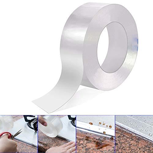 Gebildet PVC Bad Versiegelungsmittel Tape, Acryl Abdichtungsband Wand Dichtungsband Wasserdicht Band, Küche Herd Spaltdichtungen (3CM × 10M, Transparent)