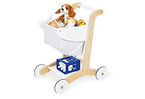 Pinolino Einkaufswagen Erna, aus Holz, Höhe des Schiebegriffs 50 cm, für Kinder ab 3 Jahren geeignet, weiß