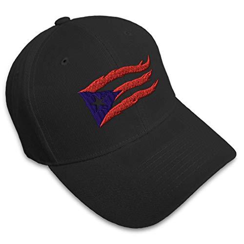 Baseball Cap Puerto Rico Flame Flag Black Embroidery Countries