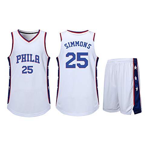 Playera de baloncesto para niños de 2 piezas 76ers Ben Simmons 25#, niños de baloncesto entrenamiento deportivo sin mangas camiseta de malla de rendimiento atlético de baloncesto, Neutral, Hombre, color blanco, tamaño 3XL