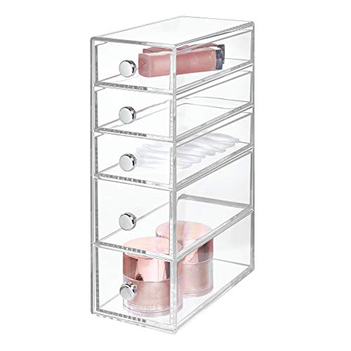 Price comparison product image iDesign Drawers Bathroom Storage Tower,  Plastic Cosmetic Organiser Drawers with 5 Drawers,  Clear