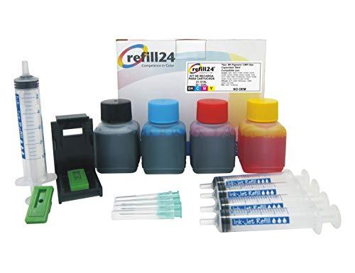 Kit di ricarica per cartucce d'inchiostro HP 21, 22, 21 XL, 22 XL nero e a colori, include clip e accessori + 200 ml inchiostro