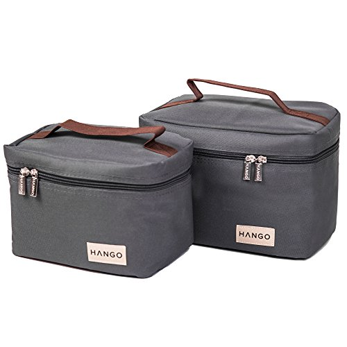 HANGO Insulated Lunch Bag [Set of 2 Sizes] - For Women & Men - Easy to Clean, Keeps Food Cold or Warm - Large & Small Sizes, Perfect for Everyday Uses